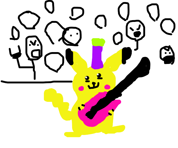 Pikachu starts a punk rock band
