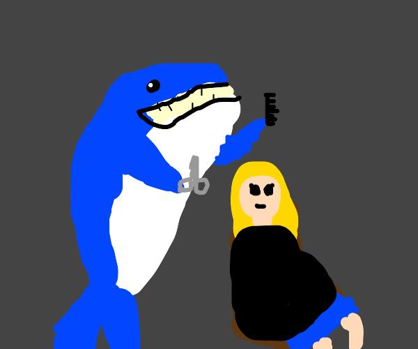 A whale giving a girl a haircut