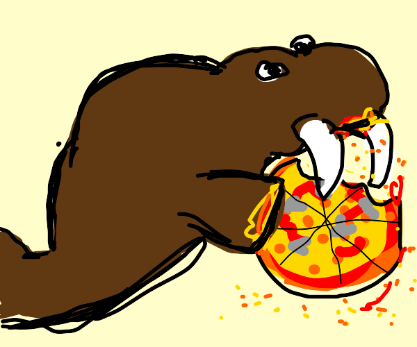 Walrus eating Pizza