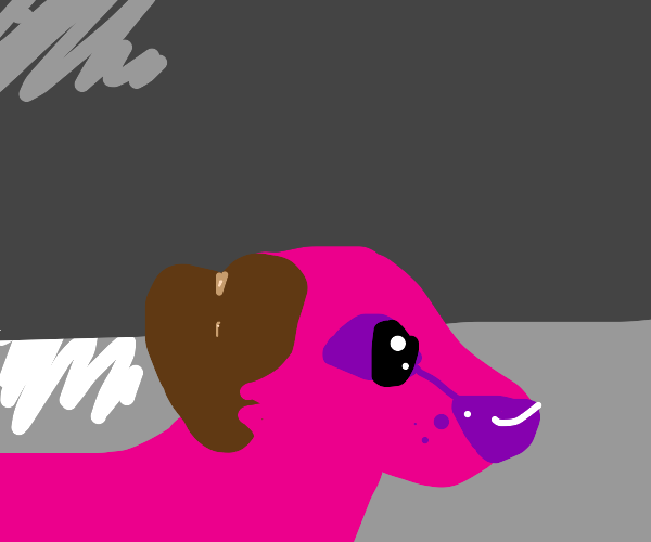 cute kawaii little pink puppy with brown ears