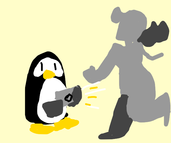 Penguin taking a picture of a sculpture
