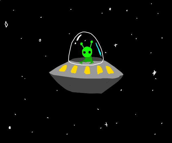 Alien traveling in a ufo