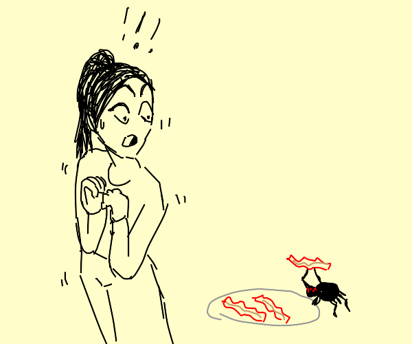 Spider steals Arachnophobe's Bacon!