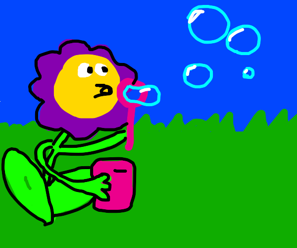 Flower blowing a bubble