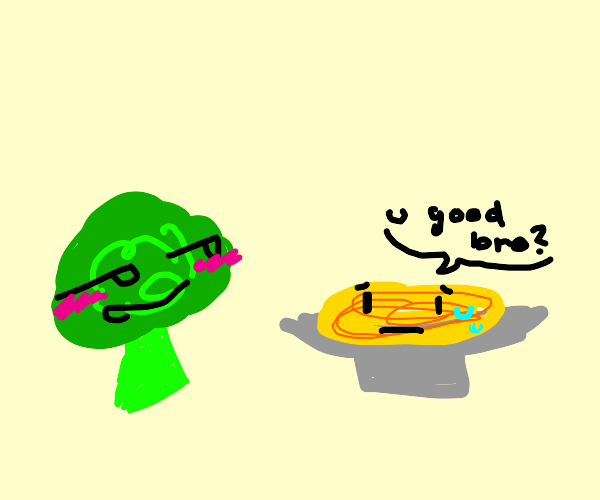 The spaghetti is concerned about the broccoli