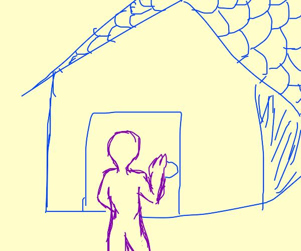 Purple guy entering a blue house