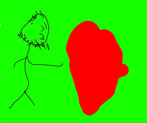 Bearded stickman blows you a kiss