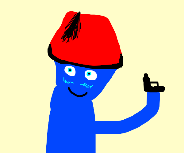Blue man with fez and gun