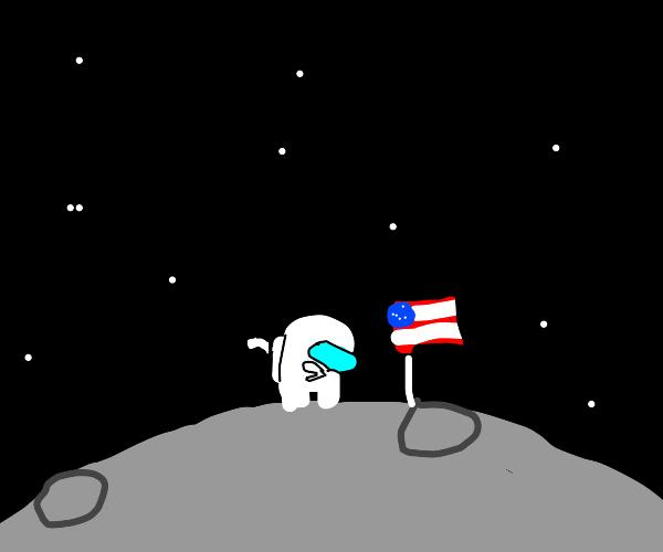 america astronaut dabs on da moon