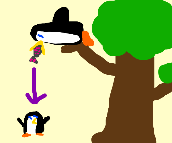 a penguin feeding its baby from a tree