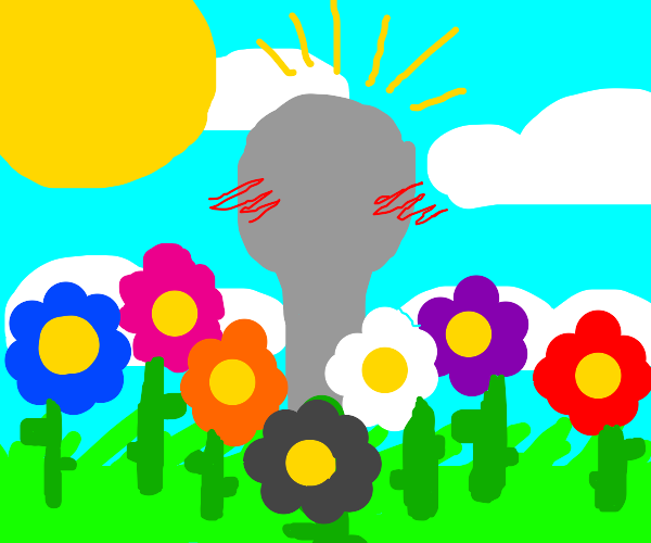 Happy spoon in surrounded with flowers