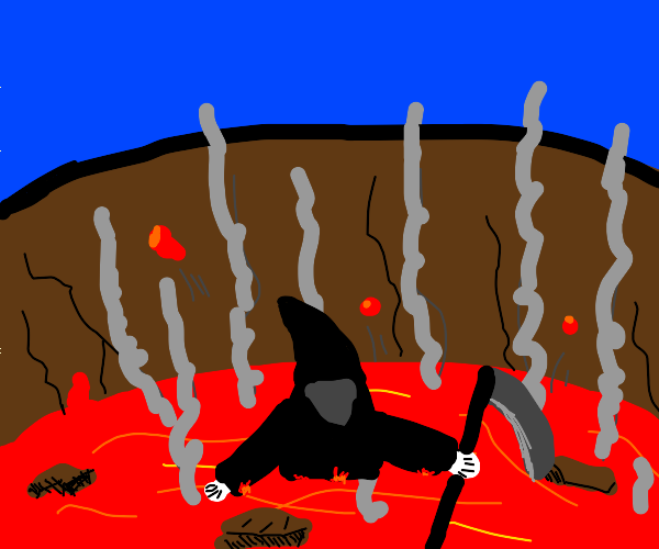 Grim reaper chilling in a volcano