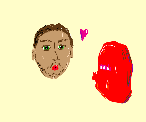 man wants to kiss red blob