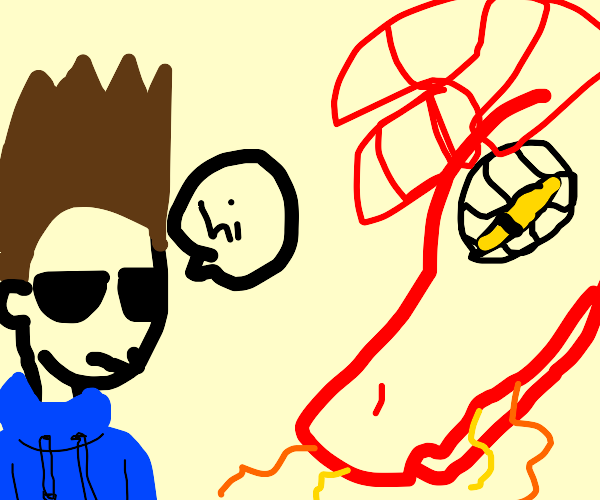 Tom from Eddsworld says hi to a dragon