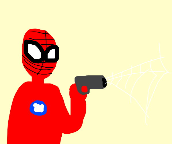 Spiderman shooting web... with a gun