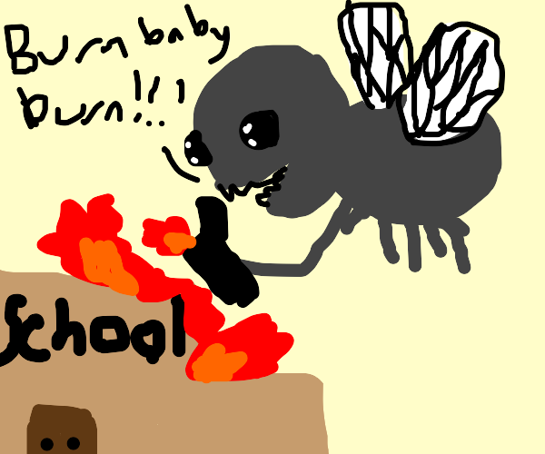 Giant fly sets fire to school