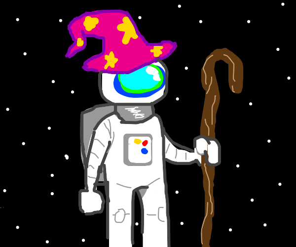 wizard astronaut in space holds a magic staff