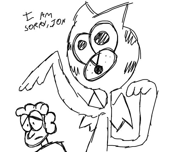 "Creepily angelic Garfield: ""I am sorry, Jon"""