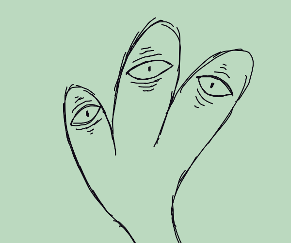 wrinkly hand with eyes