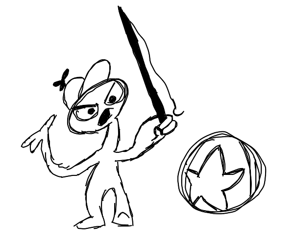 Boy with a fishing pole yelling at a ball