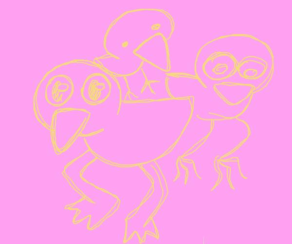 Three cute little ducklings