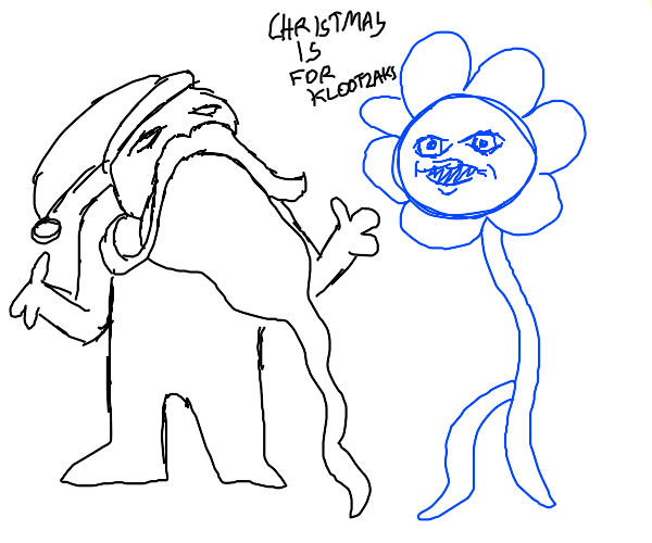 Blue flower protests Xmas, Santa is apathetic