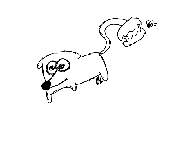dog with a venus fly trap tail