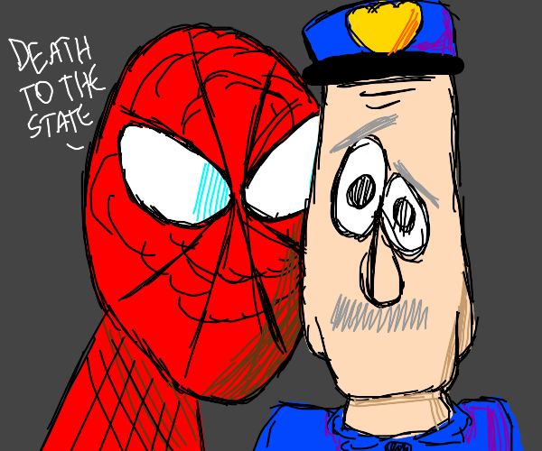 Spider-Man sneaks up on police