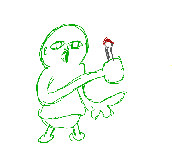 A green child holds a bloody spoon.