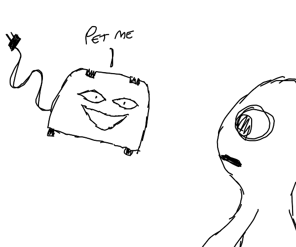 a person with a toaster telling them to pet i