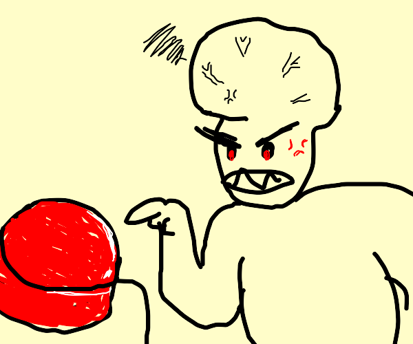 big brain man stares angrily at a red button