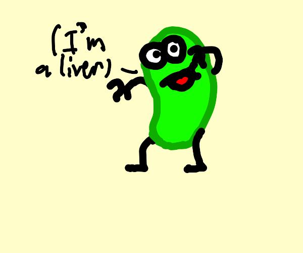 Smiling green liver
