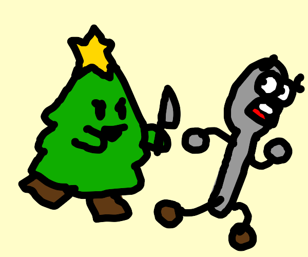 the spoon man is ASSAULTED by a cherry tree
