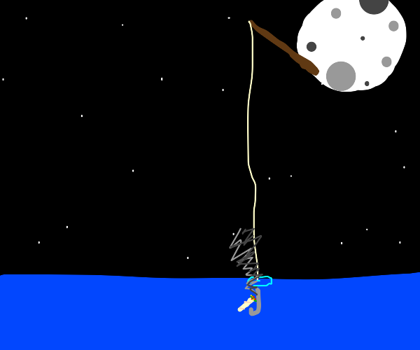 The Moon fishing for a Lit Doobie