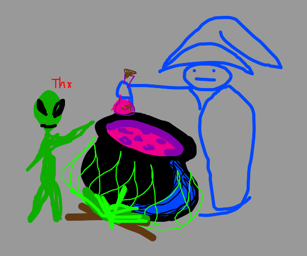 wizard makes potion for friendly alien