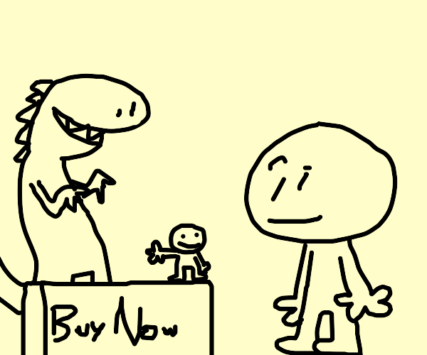 mini guy tries to sell a dinosaur to people