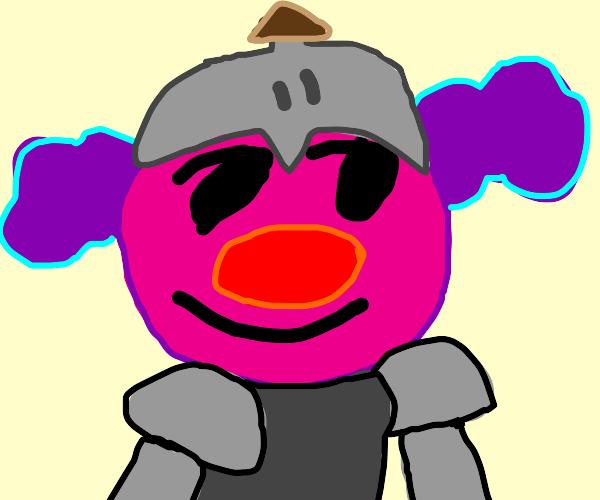 Pink headed,purple hair clown knight