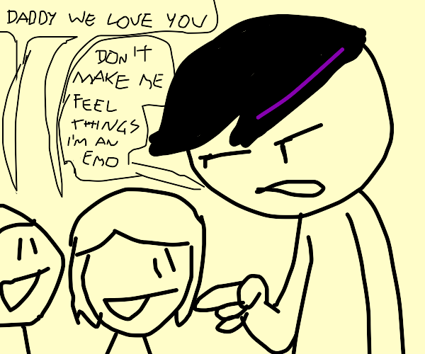An emo with his son and daughter