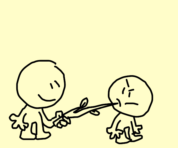 Person pokes another person with a stick