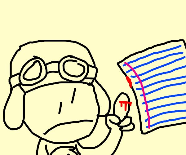 aviator bleeding from a paper cut