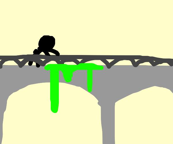 a bridge dripping green goow