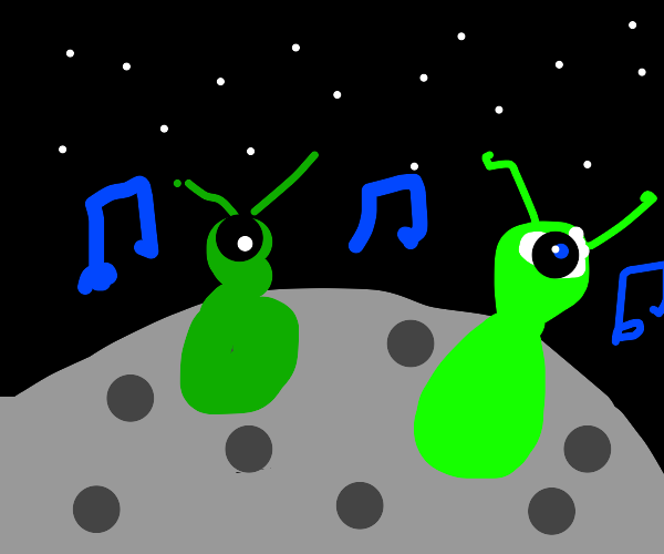 alien party on the moon!