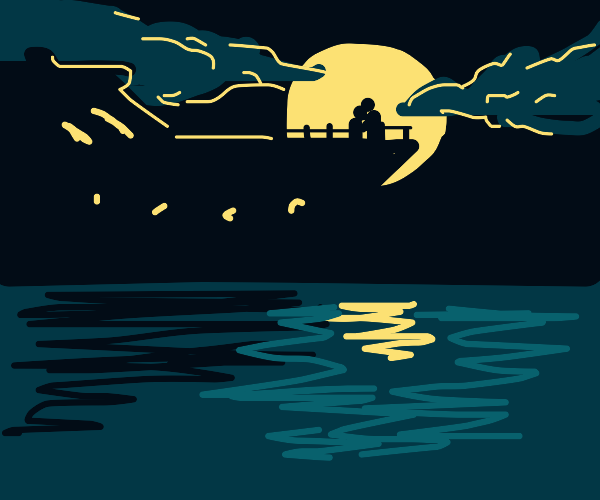 silhouette of people on a boat in the night