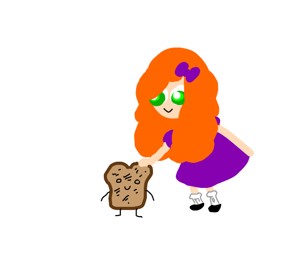 lil red head girl pets toast