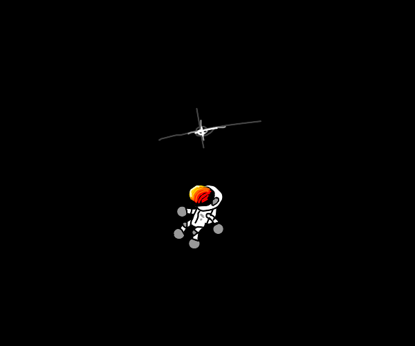 Tiny man in spacesuit