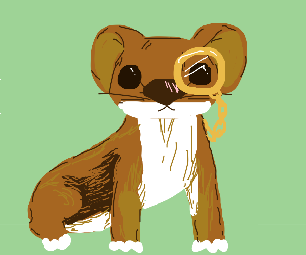 Weasel  with monocle on gold chain