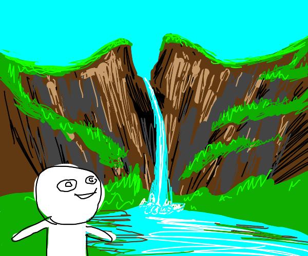 man admires vaguely vaginal-looking waterfall