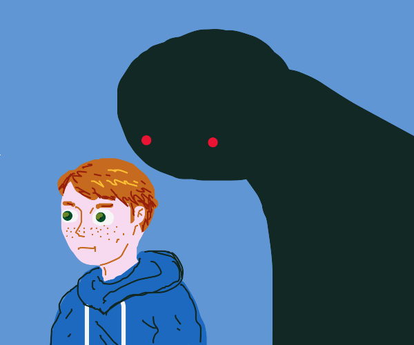 ginger man is being approached by the darknes