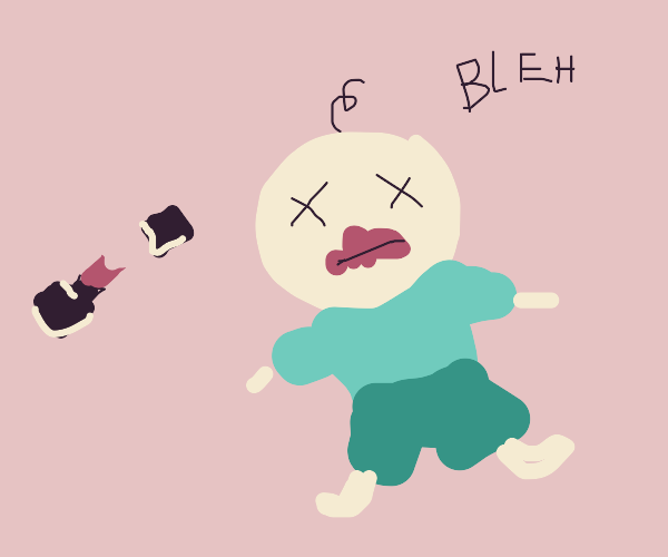 Evil baby eats lipstick and dies