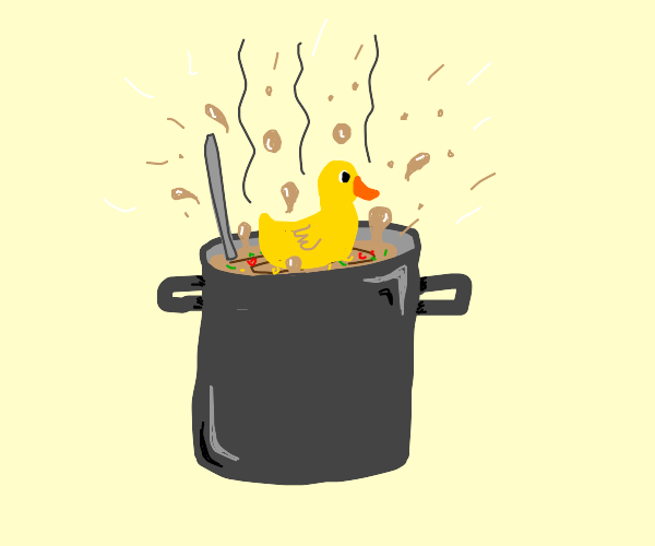 A duck boiling in a stew